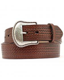 Double S Basketweave Embossed Leather Belt - Big