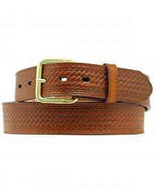Double S Basketweave Embossed Money Pocket Leather Belt - Big