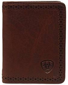 Ariat Perforated Edge Embossed Logo Bi-fold Wallet