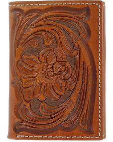 Nocona Floral Tooled Tri-fold Wallet