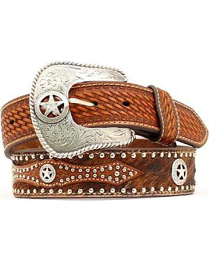 Studded Hair-on-Hide Basketweave Overlay Belt