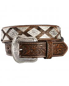 Hair-on-Hide Diamond Concho Western Belt