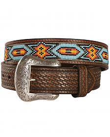 Nocona Beaded Inlay Leather Belt