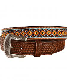 Nocona Southwest Beaded Leather Belt