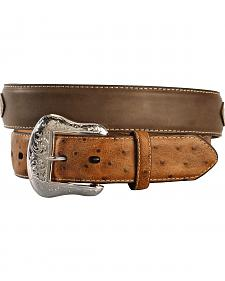 Nocona Ostrich Print Overlay Concho Belt