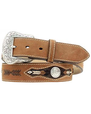 Nocona Buffalo Nickel Concho Leather Belt