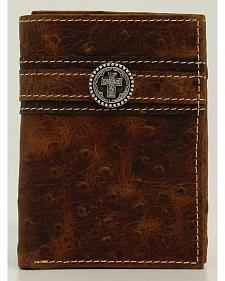Ariat Ostrich Print Cross Concho Tri-fold Wallet