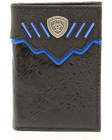 Ariat Black and Blue Trifold Shield Concho Wallet