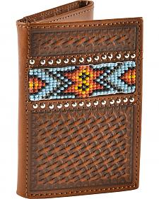 Nocona Beaded Aztec Basketweave Tri-fold Wallet