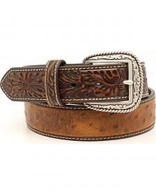 Ariat Ostrich Print Tooled Tab Belt
