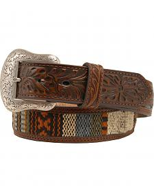 Nocona Ribbon Inlay Tooled Billet Belt