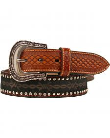 Nocona Barbed Wire Print Studded Concho Belt