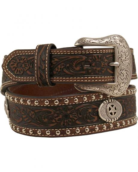 Nocona Tooled and Studded Concho Belt
