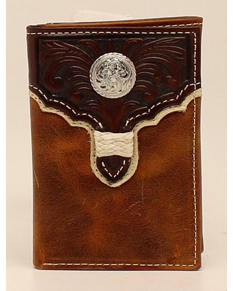Nocona Trifold Tooled Overlay Concho Wallet