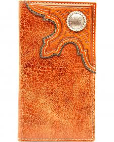 Nocona Men's Distressed Leather with Concho Rodeo Wallet
