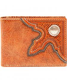 Nocona Men's Leather Basketweave Concho Bi-Fold Wallet