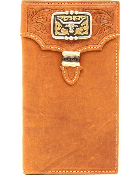 Nocona Men's Tan Leather Studded Longhorn Rodeo Wallet