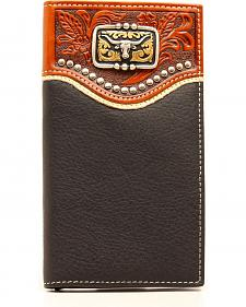 Nocona Men's Black Leather Studded Longhorn Rodeo Wallet