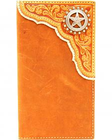 Nocona Men's Leather Tooled Overlay Concho Rodeo Wallet