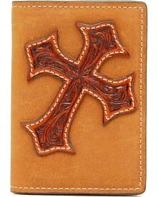 Nocona Diamond Cross Distressed Leather Business Card Holder