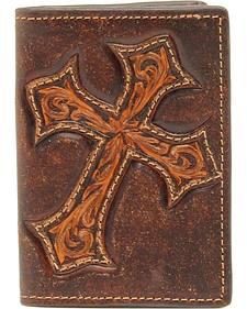 Nocona Diamond Cross Distress Leather Business Card Holder