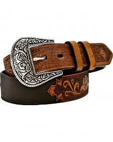 Stetson Antique Tooled Billet Belt