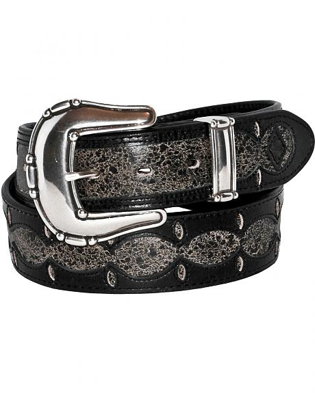 Stetson Fancy Overlay Distressed Leather Belt