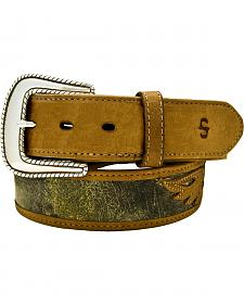 Stetson Eagle Overlay Distressed Leather Belt