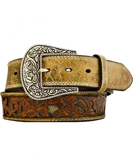 Stetson Fancy Tooled Overlay Distressed Leather Belt