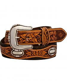 Stetson Fancy Concho Tooled Leather Overlay Belt