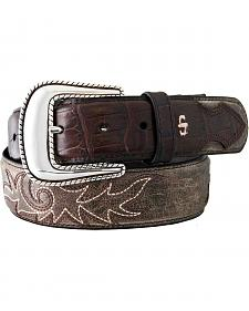 Stetson Fancy Stitched Croc Print Billet Belt