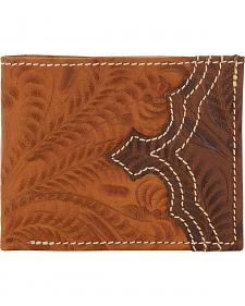 American West Men's Tan Tooled Leather Bi-Fold Wallet