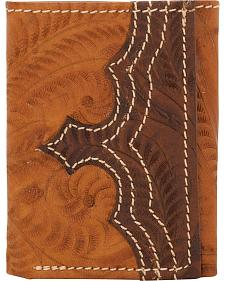 American West Men's Tan Tooled Leather Tri-Fold Wallet