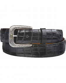 Lucchese Men's Black Caiman Ultra Belly Leather Belt