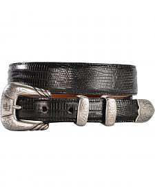 Lucchese Men's Black Lizard Leather Belt