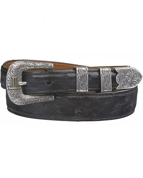 Lucchese Men's Black Full Quill Ostrich Leather Belt