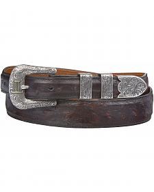 Lucchese Men's Black Cherry Full Quill Ostrich Leather Belt