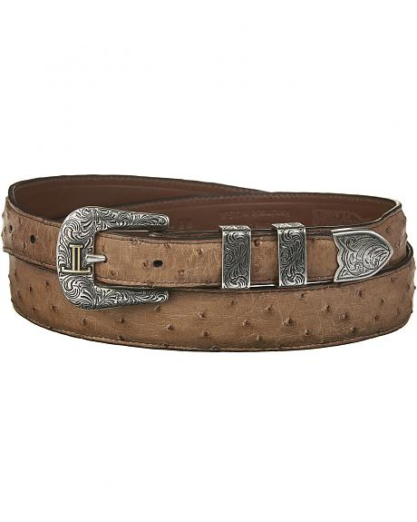 Lucchese Men's Brown Full Quill Ostrich Leather Belt