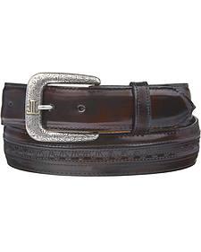 Lucchese Men's Black Cherry Goatskin Leather Belt