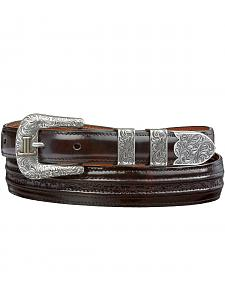 Lucchese Men's Black Cherry Goat with Hobby Stitch Leather Belt
