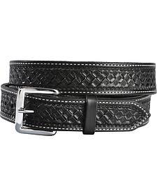 Resistol Men's Black Gold Black Saddle Leather Waffle Belt