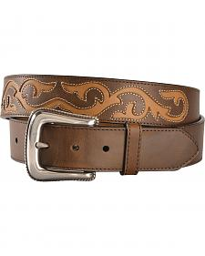 3D Men's Brown Leather Belt with Cut Outs and Diamond Conchos