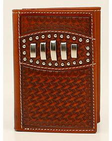 Ariat Basketweave Studded Concho Trifold Wallet