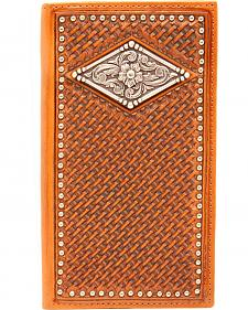 Ariat Basketweave Diamond Concho Rodeo Wallet