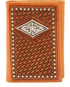 Ariat Basketweave Diamond Concho Trifold Wallet