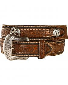 Nocona Tooled Cross Concho Belt