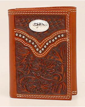 Nocona Floral Embossed Concho Trifold Wallet