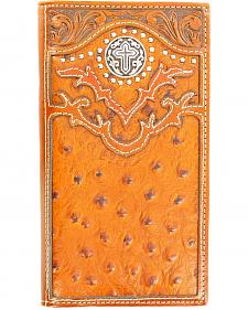 Nocona Ostrich Print Cross Concho Rodeo Wallet