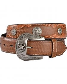 Gibson Trading Co. Men's Embossed Ostrich Print Concho Leather Belt