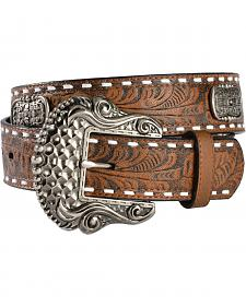 Gibson Trading Co. Men's Tooled Concho Leather Belt